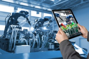 Industrial 4.0 , Augmented reality concept. Hand holding tablet