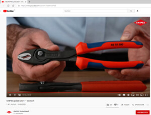 KNIPEX neuste Werkzeugzange präsentiert im Videostream bei Youtube